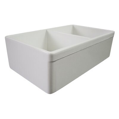 "32.75"" x 19.88"" Double Bowl Farmhouse Kitchen Sink Product Photo"