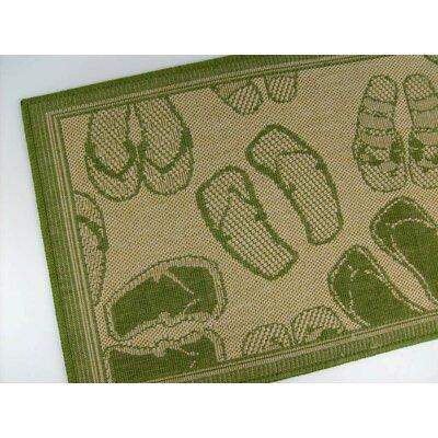 Flip Flops Honey/Emerald Indoor/Outdoor Area Rug by American Mills