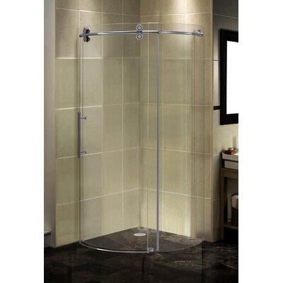 "35"" x 35"" x 75"" Completely Frameless Round Sliding Shower Door Enclosure Product Photo"