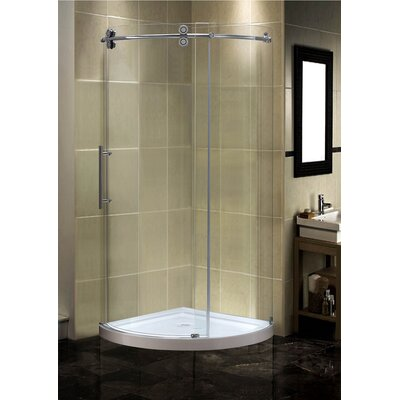 """36"""" x 36"""" x 77.5"""" Completely Frameless Round Sliding Shower Door Enclosure with Low-Profile Base Product Photo"""