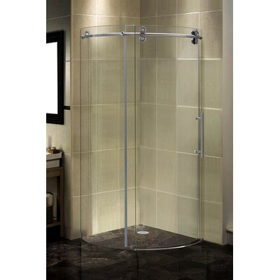 "35"" x 35"" x 75"" Completely Frameless Round Sliding Shower Door Enclosure Product Photo"