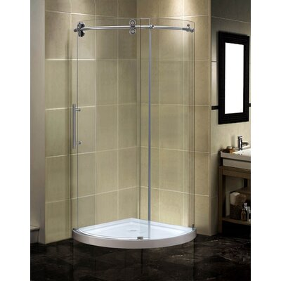 """40"""" x 40"""" x 77.5"""" Completely Frameless Round Sliding Shower Door Enclosure with Low-Profile Base Product Photo"""