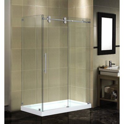 "48"" x 35"" x 77.5"" Completely Frameless Sliding Shower Door Enclosure with Low-Profile Base Product Photo"