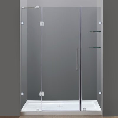 "Completely 77.5"" x 60"" Pivot Frameless Hinged Shower Door with Base Product Photo"