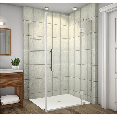 "Avalux GS 48"" x 30"" x 72"" Completely Frameless Hinged Shower Enclosure with Glass Shelves Product Photo"