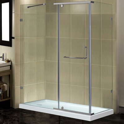 "60"" x 35"" x 77.5"" Semi-Frameless Rectangular Shower Enclosure with Low-Profile Base Product Photo"