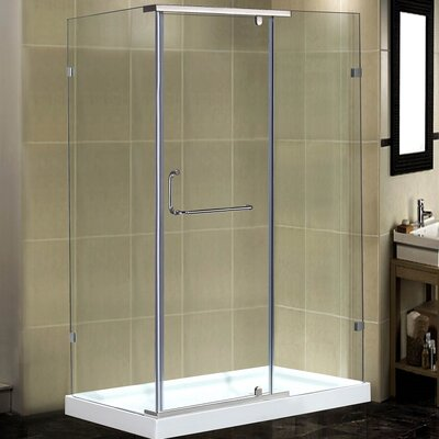 "48"" x 35"" x 77.5"" Semi-Frameless Rectangular Shower Enclosure with Low-Profile Base Product Photo"
