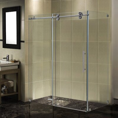 "60"" x 34"" x 75"" Completely Frameless Sliding Shower Door Enclosure Product Photo"