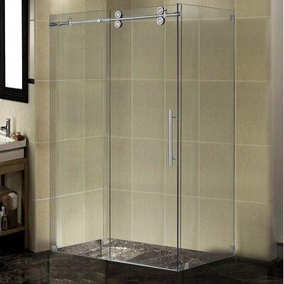 "48"" x 34"" x 75"" Completely Frameless Sliding Shower Door Enclosure Product Photo"