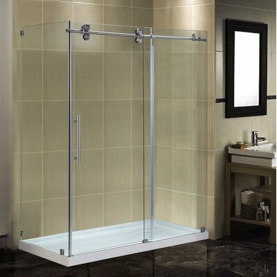 "60"" x 35"" x 77.5"" Completely Frameless Sliding Shower Door Enclosure with Low-Profile Base Product Photo"
