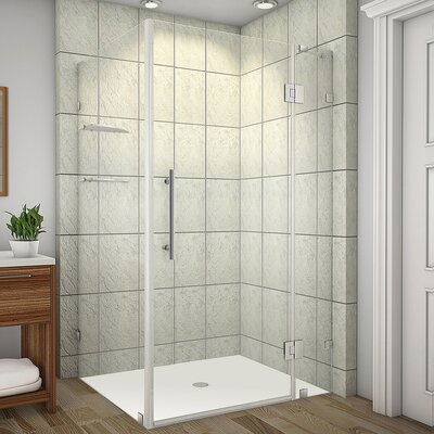 "Avalux GS 42"" x 34"" x 72"" Completely Frameless Hinged Shower Enclosure with Glass Shelves Product Photo"