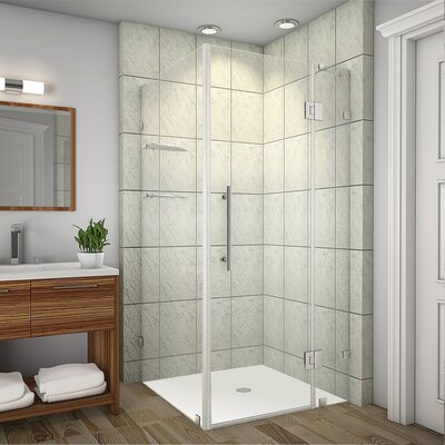 """Avalux GS 37"""" x 38"""" x 72"""" Completely Frameless Hinged Shower Enclosure with Glass Shelves Product Photo"""