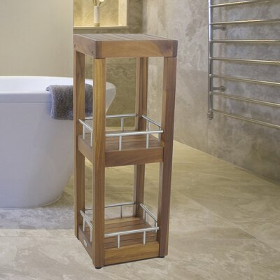 Teak and Stainless Steel Square 3 Tier Tower Stand by Aqua Teak