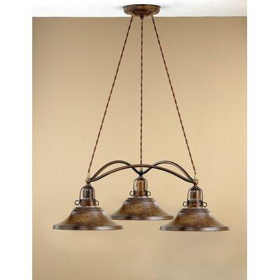 Rustik Charleston Three Light Chandelier by Lustrarte Lighting