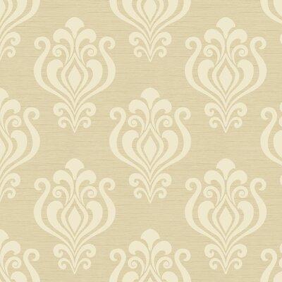 "York Wallcoverings Elements Kindle 27' x 27"" Damask Foiled Wallpaper"