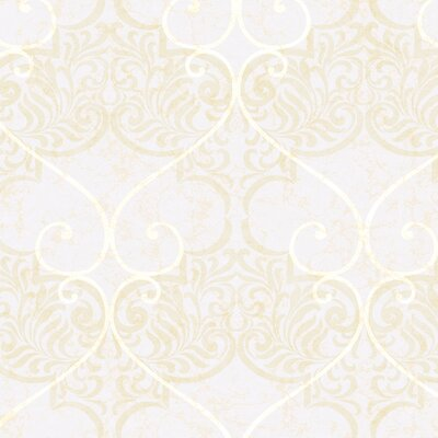 """York Wallcoverings Natural Radiance Marceilles 27' x 27"""" Damask Distressed Wallpaper"""
