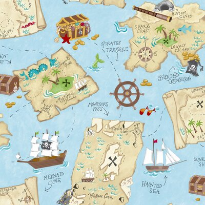 "York Wallcoverings Peek-A-Boo 33' x 20.5"" Pirate Map Wallpaper"