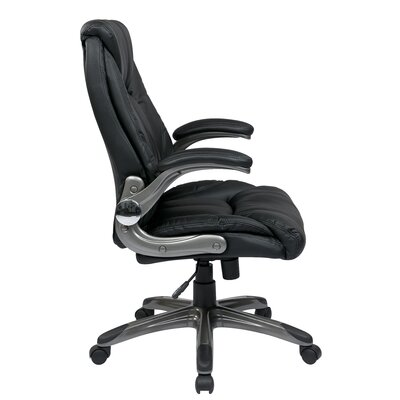 Office Star Products Mid-Back Manager Chair with Padded Flip Arms in Black