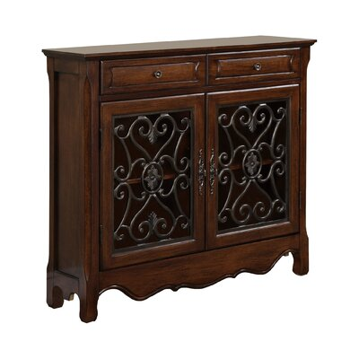 2 Door and 2 Drawer Scroll Console Table by Powell