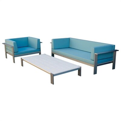 Modern Outdoor Luma 3 Piece Deep Seating Group with cushions