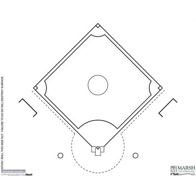 Marsh Dry-Erase Coaching Aides Mat Baseball Magnetic Whiteboard, 1' x 2'