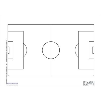 Marsh Dry-Erase Coaching Aides Mat - Soccer Magnetic Whiteboard, 1' x 2'