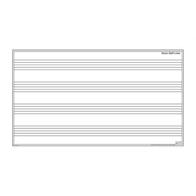 Marsh Dry-Erase Teaching Aides Mat - Music Staff Magnetic Whiteboard, 3' x 6'