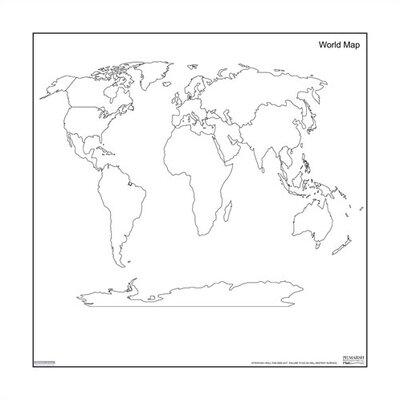 Marsh Dry-Erase Teaching Aides Mat - World Map Magnetic Whiteboard, 3' x 3'