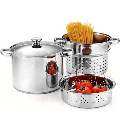 Stainless Steel 4-Piece Pasta Cooker Steamer Multi-pot,8-Qt by Cook N Home