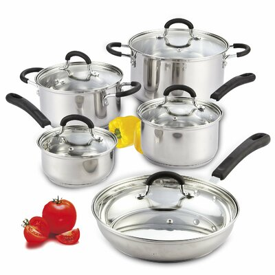 10 Piece Stainless Steel Cookware Set with Encapsulated Bottom by Cook N Home