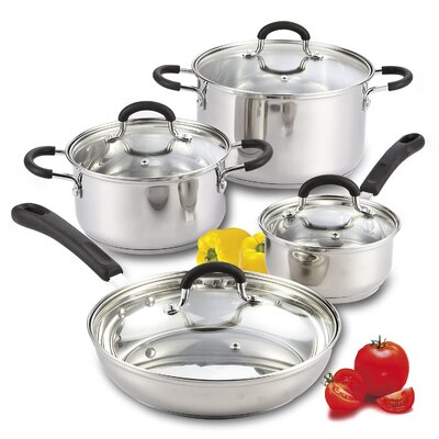 8 Piece Stainless Steel Cookware Set with Encapsulated Bottom by Cook N Home