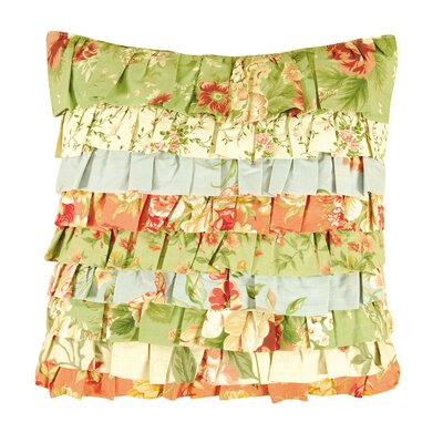 Garden Dream Ruffled Cotton Throw Pillow by C & F Enterprises