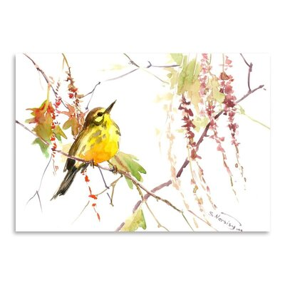 Warbler In Spring Painting Print by Americanflat
