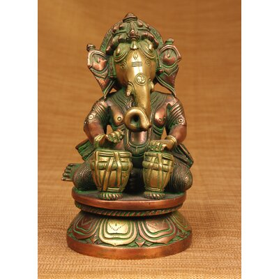 Brass Series Ganesha Playing Different Instruments Figurine by Miami Mumbai