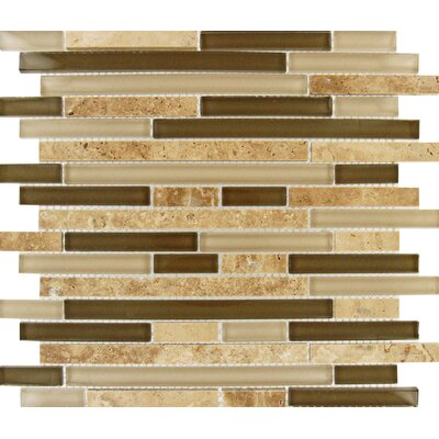 Interlocking Random Sized Glass and Natural Stone Mosaic Tile in Multi by MSI