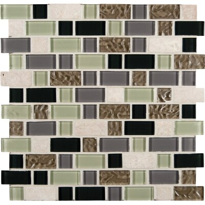 Interlocking Stonecrest Random Sized Glass and Natural Stone Mosaic Tile in Multi by MSI