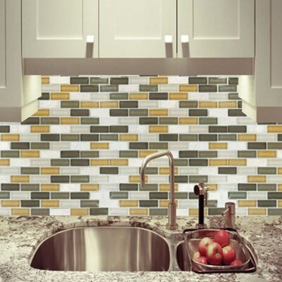 MS International Tumbled 1'' x 2'' Glass Mosaic Tile in Luxor Valley Blend