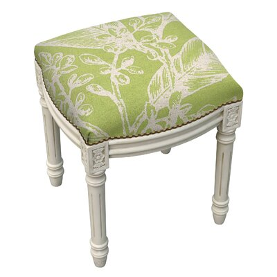Floral Botanical Linen Upholstered Vanity Stool by 123 Creations