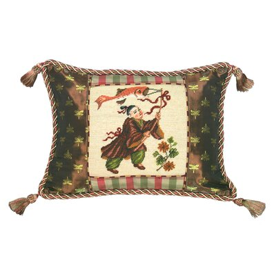 123 Creations Chinoiserie Chinese Boy with Kite Petit Point Wool Throw Pillow