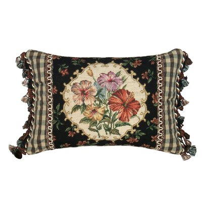 Floral Hibiscus Petit Point Wool Lumbar Pillow by 123 Creations