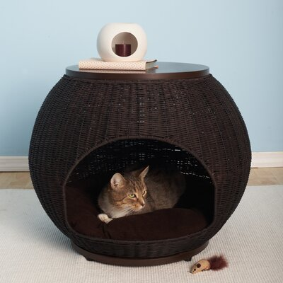 The Igloo Deluxe Wicker End Table Cat Bed by The Refined Feline