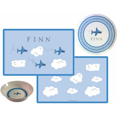 The Kids Tabletop 3 Piece Airplanes Placemat Set by Kelly Hughes Designs