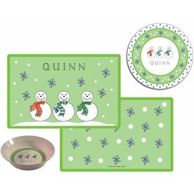 The Kids Tabletop 3 Piece Jolly Snowmen Placemat Set by Kelly Hughes Designs