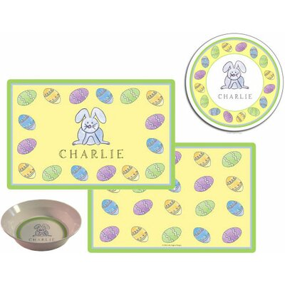 The Kids Tabletop 3 Piece Happy Easter Placemat Set by Kelly Hughes Designs