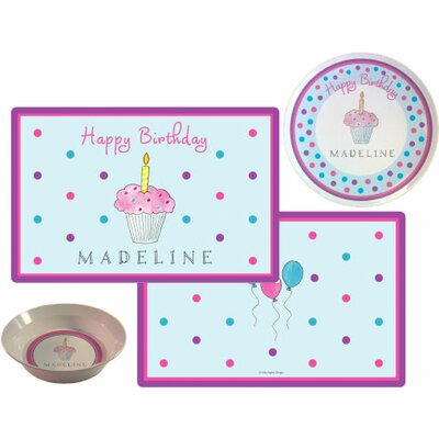 The Kids Tabletop 3 Piece Birthday Cupcake Placemat Set by Kelly Hughes Designs