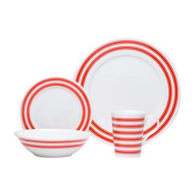 Race Stripe 16 Piece Dinnerware Set by Red Vanilla