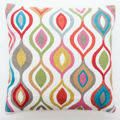 Crewel Teardrop Embroidery Wool Throw Pillow by Abigails