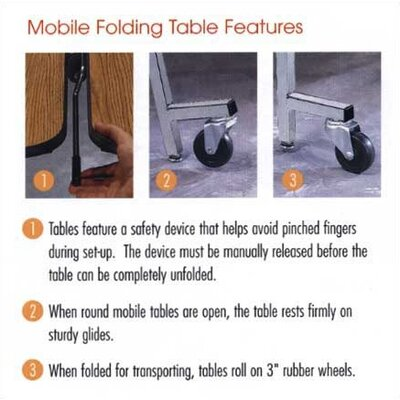 """Virco 48"""" Round Mobile ContourFold Table with Sure Edge"""