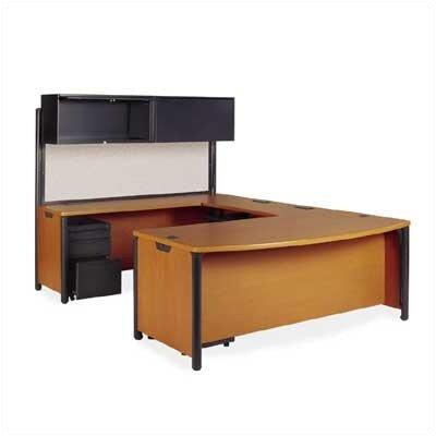 Virco Plateau Series U-Shape Computer Desk with Hutch and Pedestal