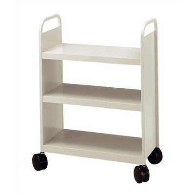 Virco Library Book Truck with 3 Flat Shelve